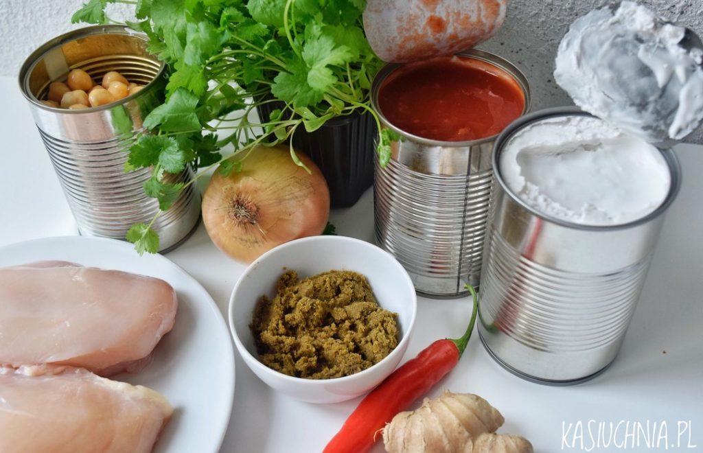 curry z kurczakiem i ciecierzyca składniki