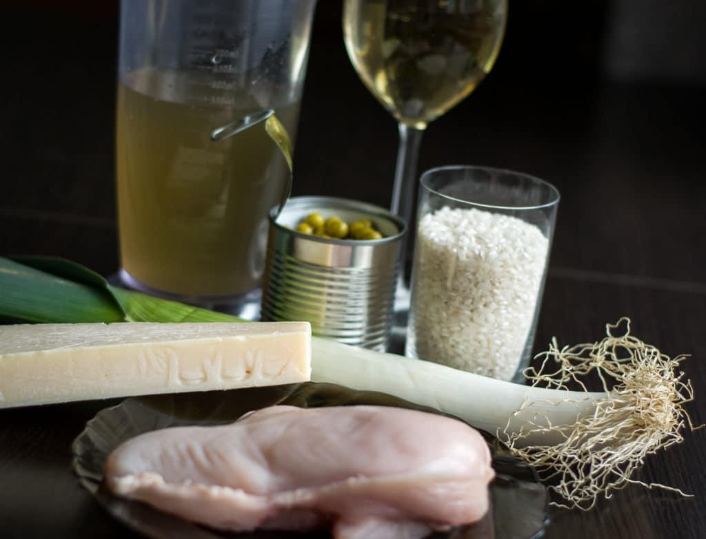 risotto z kurczakiem, porem i groszkiem składniki