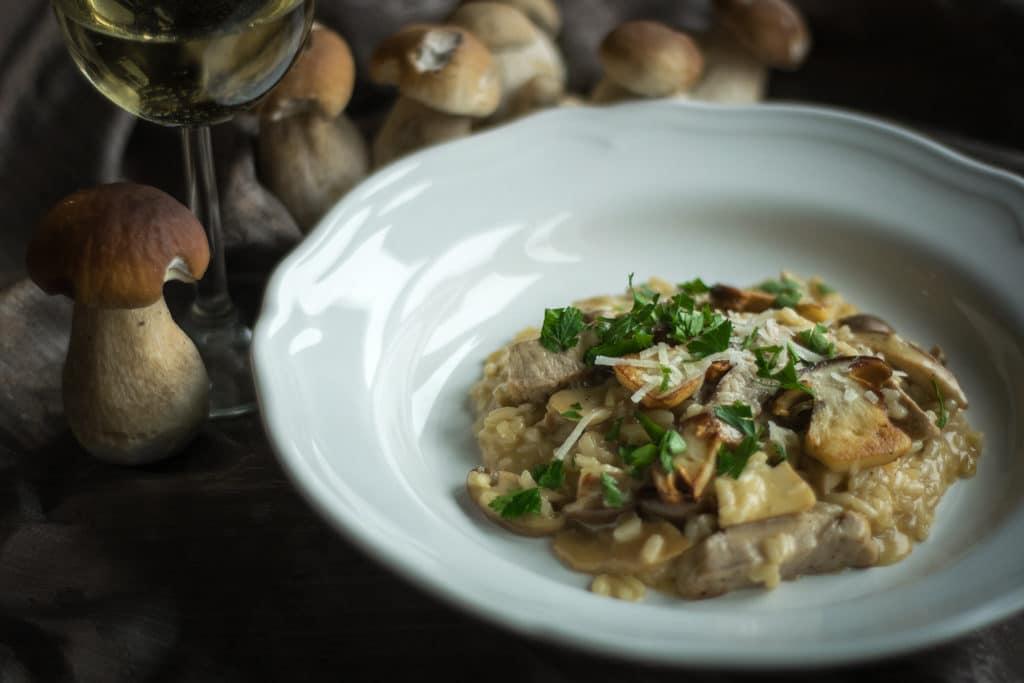 risotto z borowikami i poledwiczka