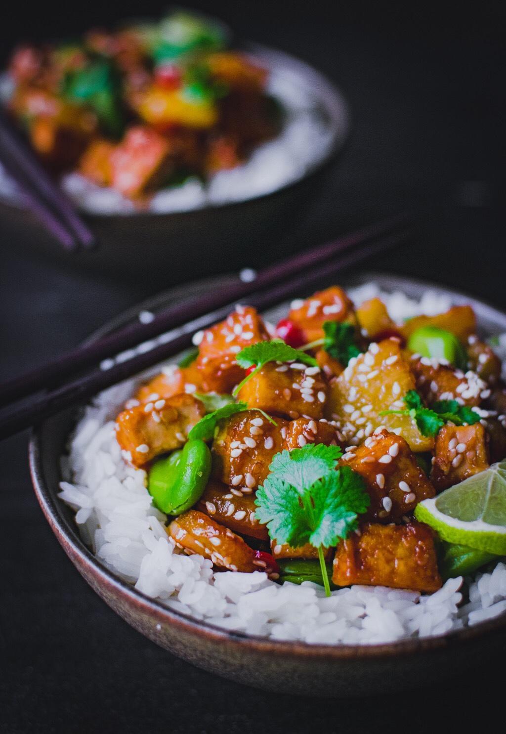 Ryż-tofu-ananas-bob